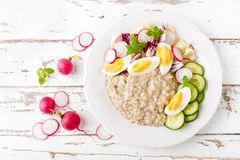 Oatmeal porridge with boiled egg and vegetable salad with fresh radish, cucumber and lettuce. Healthy dietary breakfast. Top view royalty free stock images