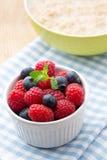Oatmeal porridge in bowl with berries raspberries and blackberri Royalty Free Stock Photo
