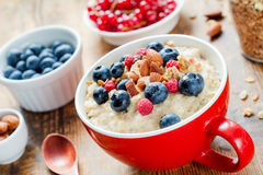 Oatmeal porridge bowl with blueberries, raspberries and muesli Royalty Free Stock Photography