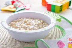 Oatmeal porridge for children nutrition Royalty Free Stock Image