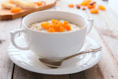 Oatmeal porridge with dried apricots Stock Photography