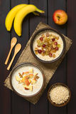 Oatmeal Porridge with Fruits and Walnuts Stock Photography