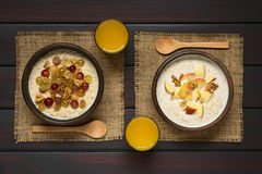 Oatmeal Porridge with Fruits and Walnuts Royalty Free Stock Photography