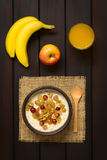 Oatmeal Porridge with Grapes and Walnuts Stock Photos
