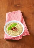 Oatmeal porridge with hazelnuts Royalty Free Stock Images