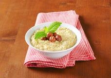 Oatmeal porridge with hazelnuts Stock Photography