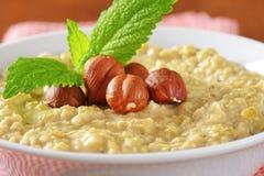 Oatmeal porridge with hazelnuts Royalty Free Stock Image