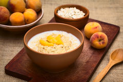 Oatmeal Porridge with Peach Royalty Free Stock Image