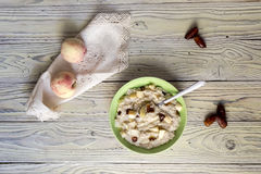 Oatmeal porridge in a plate stock images