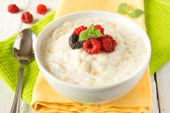 Oatmeal porridge with raspberry Royalty Free Stock Photography