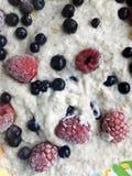 Oatmeal pudding z mlekiem i jagodami - zbliżenie Obraz Royalty Free