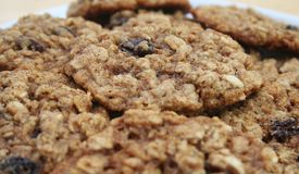 Oatmeal Raisin. Close Up of a pile of oatmeal raisin cookies Royalty Free Stock Photos