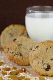 Oatmeal Raisin Cookie with Glass of Milk Stock Image