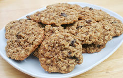 Oatmeal Raisin Cookies. On a White Dish Royalty Free Stock Photo