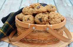 Oatmeal Raisin Cookies in a decorative basket Royalty Free Stock Images