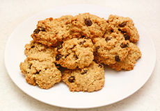 Oatmeal raisin cookies fresh from the oven Stock Images