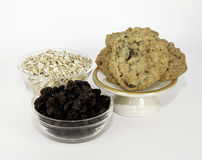 Oatmeal Raisin Cookies and Ingredients Royalty Free Stock Photos