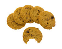 Oatmeal raisin cookies with one bitten Royalty Free Stock Photography