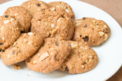 Oatmeal and raisin cookies. On plate Royalty Free Stock Photography
