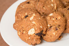 Oatmeal and raisin cookies. On plate Stock Images