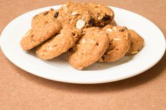 Oatmeal and raisin cookies. On plate Stock Photo