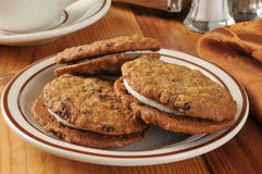 Oatmeal raisin sandwich cookies Royalty Free Stock Image
