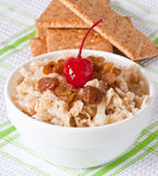 Oatmeal with raisins and cherries Royalty Free Stock Photography