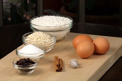 Oatmeal and raisins cookies ingredients Royalty Free Stock Images