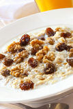 Oatmeal with Raisins and Walnuts Stock Image