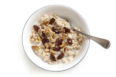 Oatmeal with Raisins Walnuts and Brown Sugar Isolated Top View stock image