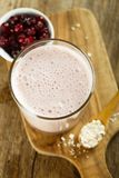 Oatmeal and red berries smoothie. Organic oatmeal and red berries healthy homemade smoothie royalty free stock image