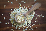 Oatmeal or rolled oats, popular breakfast cereal Royalty Free Stock Images