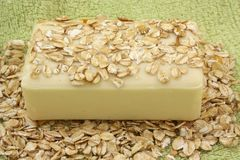Oatmeal Soap. On a green towel Royalty Free Stock Images