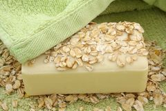 Oatmeal Soap. On a green towel Stock Photography