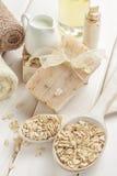 Oatmeal soap royalty free stock image