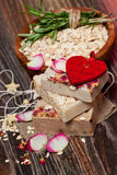 Oatmeal soap  with roses Stock Photo