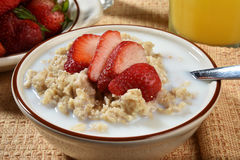Oatmeal with strawberries Royalty Free Stock Photo