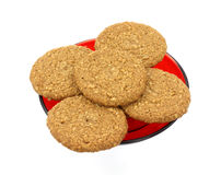 Oatmeal sugar free cookies on red plate Stock Images