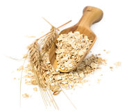 Oatmeal with wheat spikelets in a scoop Royalty Free Stock Photos