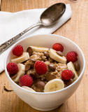 Oatmeal in white bowl Royalty Free Stock Photo