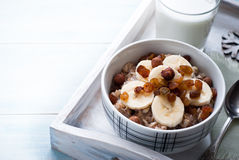 Oatmeal With Bananas And Raisins Royalty Free Stock Image