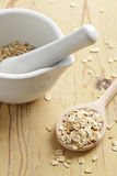 Oatmeal on wooden table Royalty Free Stock Photo