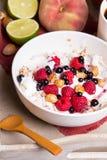 Oatmeal with yogurt and fruit Stock Photography