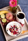 Oatmeal with yogurt and fruit Stock Photo