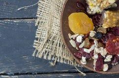 Oatmeal z wysuszonymi owoc Eco Eco karmowi naczynia zimny nastrój Zdjęcia Royalty Free