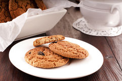 Oats biscuits. Traditional russian oats cookies with raisins Royalty Free Stock Photography