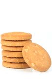 Oats biscuits. Biscuits made by oats flour on white background Royalty Free Stock Photos