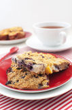 Oats with blueberry and peach squares. For breakfast Stock Photography