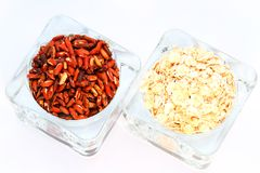 Oats and brown rice Royalty Free Stock Image