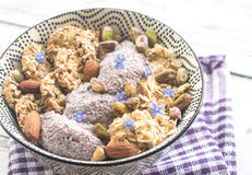 Oats with chia pudding and cereal cookies Royalty Free Stock Image